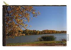 Blue Lake In Fall Carry-all Pouch by Yumi Johnson