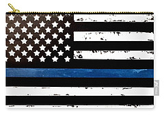 Blue Line Flag Carry-all Pouch by Denise Tomasura