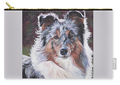 Carry-all Pouch featuring the painting Blue Merle Sheltie by Lee Ann Shepard