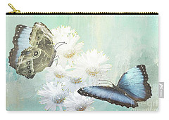 Blue Morpho Butterflies And White Gerbers Carry-all Pouch