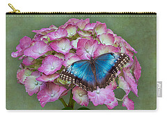 Blue Morpho Butterfly On Pink Hydrangea Carry-all Pouch