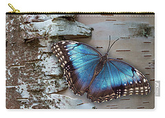 Blue Morpho Butterfly On White Birch Bark Carry-all Pouch