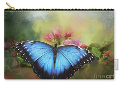 Blue Morpho On A Blossom Carry-all Pouch by Eva Lechner