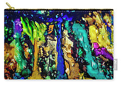 Carry-all Pouch featuring the painting Blue Night Waterfall by Melinda Ledsome