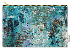Carry-all Pouch featuring the painting Blue Ocean - Abstract Art by Carmen Guedez