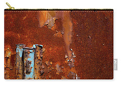Carry-all Pouch featuring the photograph Blue On Rust by Karol Livote
