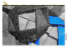 Blue Origami Rose Carry-all Pouch