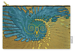 Carry-all Pouch featuring the digital art Abstract Blue Owl by Ben and Raisa Gertsberg
