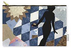 Blue Paper Doll Carry-all Pouch