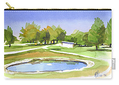 Carry-all Pouch featuring the painting Blue Pond At The A V Country Club by Kip DeVore