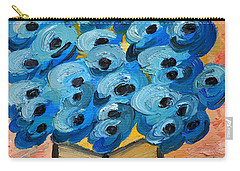 Carry-all Pouch featuring the painting Blue Poppies In Square Vase  by Ramona Matei
