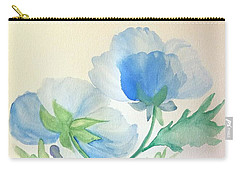 Blue Poppies Carry-all Pouch by Maria Urso