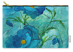 Blue Poppies, Watercolor On Yupo Carry-all Pouch