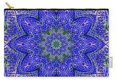 Blue Purple Lavender Floral Kaleidoscope Wall Art Print Carry-all Pouch by Carol F Austin