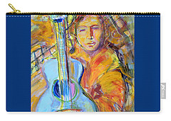 Carry-all Pouch featuring the painting Blue Quitar by Mary Schiros