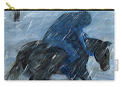 Blue Rider On Horse Carry-all Pouch