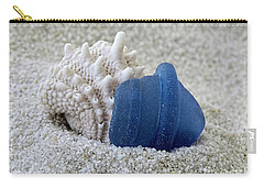 Blue Sea Glass And Seashell  Carry-all Pouch
