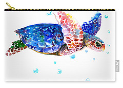 Blue Sea Turtle Carry-all Pouch by Suren Nersisyan
