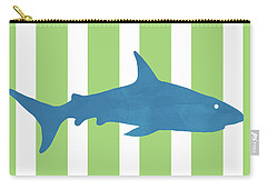 Blue Shark 2- Art By Linda Woods Carry-all Pouch