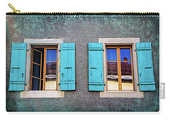 Blue Shuttered Windows In Carouge Geneva  Carry-all Pouch