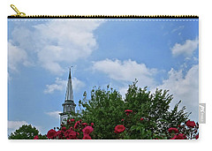 Carry-all Pouch featuring the photograph Blue Sky And Roses by Nancy Patterson