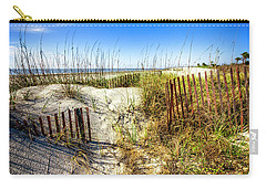 Carry-all Pouch featuring the photograph Blue Sky Dunes by Debra and Dave Vanderlaan