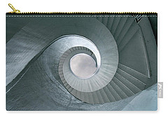 Carry-all Pouch featuring the photograph Blue Spiral Stairs by Jaroslaw Blaminsky