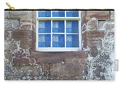 Carry-all Pouch featuring the photograph Blue Squares In The Castle Window by Christi Kraft
