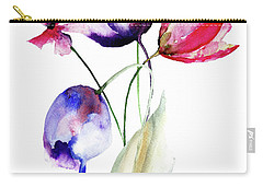 Blue Tulips Flowers With Wild Flowers Carry-all Pouch