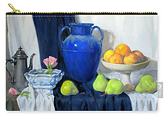Blue Vase, Peaches, Pears, Lisianthus, Silver Coffeepot Carry-all Pouch