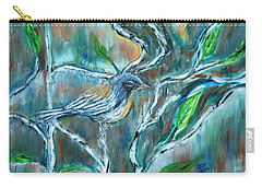 Blue Warbler In Birch Carry-all Pouch