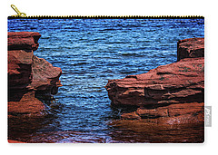 Carry-all Pouch featuring the photograph Blue Water Between Red Stone by Chris Bordeleau