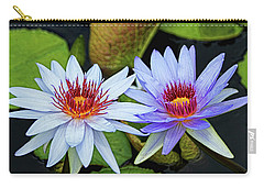 Carry-all Pouch featuring the photograph Blue Water Lilies by Judy Vincent