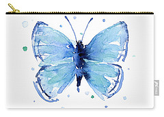 Blue Watercolor Butterfly Carry-all Pouch by Olga Shvartsur