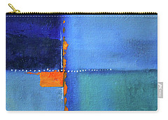 Carry-all Pouch featuring the painting Blue Window Abstract by Nancy Merkle
