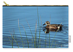 Carry-all Pouch featuring the photograph Blue Winged Teal by Ann E Robson