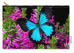 Blue Wings On Pink Flowers Carry-all Pouch