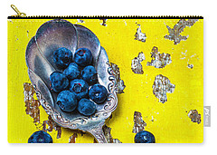 Blueberries In Silver Spoon Carry-all Pouch by Garry Gay