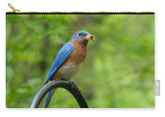 Bluebird Catches Worm Carry-all Pouch