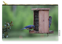 Bluebird Couple Sharing The Feeder Carry-all Pouch