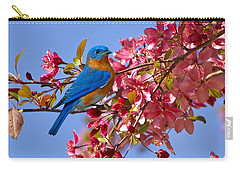 Bluebird In Apple Blossoms Carry-all Pouch