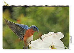 Bluebird Landing On Orchid Carry-all Pouch by Luana K Perez