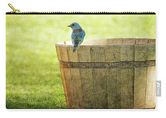 Bluebird Resting On Bucket, Textured Carry-all Pouch