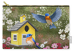 Bluebirds And Yellow Birdhouse Carry-all Pouch by Crista Forest