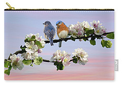 Bluebirds In Apple Tree Carry-all Pouch