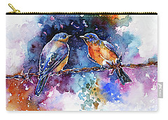 Carry-all Pouch featuring the painting Bluebirds by Zaira Dzhaubaeva