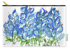 Bluebonnet Dance Whimsey,by Kathleen Mcelwaine Southern Charm Print Watercolor, Painting, Carry-all Pouch