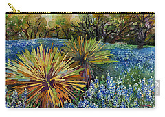 Carry-all Pouch featuring the painting Bluebonnets And Yucca by Hailey E Herrera