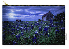 Carry-all Pouch featuring the photograph Bluebonnets In The Blue Hour by Linda Unger