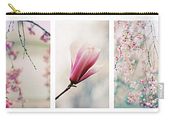 Carry-all Pouch featuring the photograph Blush Blossom Triptych by Jessica Jenney
